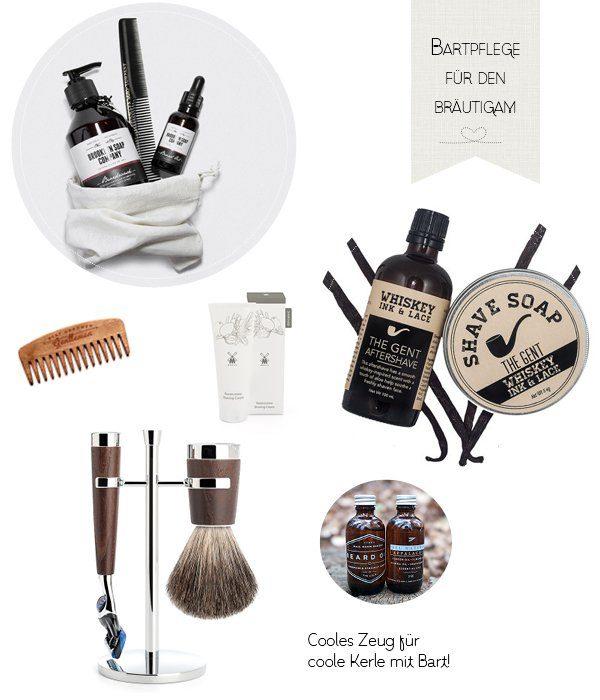 Pflegeprodukte für Bräutigam mit Bart