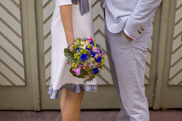 Brautpaar mit dem blauen Rad