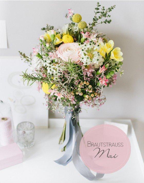 Brautstrauß Galerie Mai: Rosé, gelb und grau luftig und verspielt gebunden