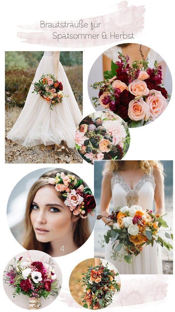 Ideen für einen Brautstrauß mit Beerentönen und Orange im Herbst und Spätsommer