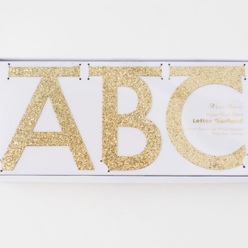 Buchstaben Girlande Gold Glitzer-1