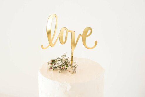 Goldener Cake Topper Love