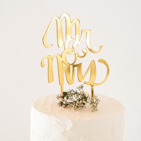 Goldener Mr & Mrs Cake Topper für die Hochzeitstorte