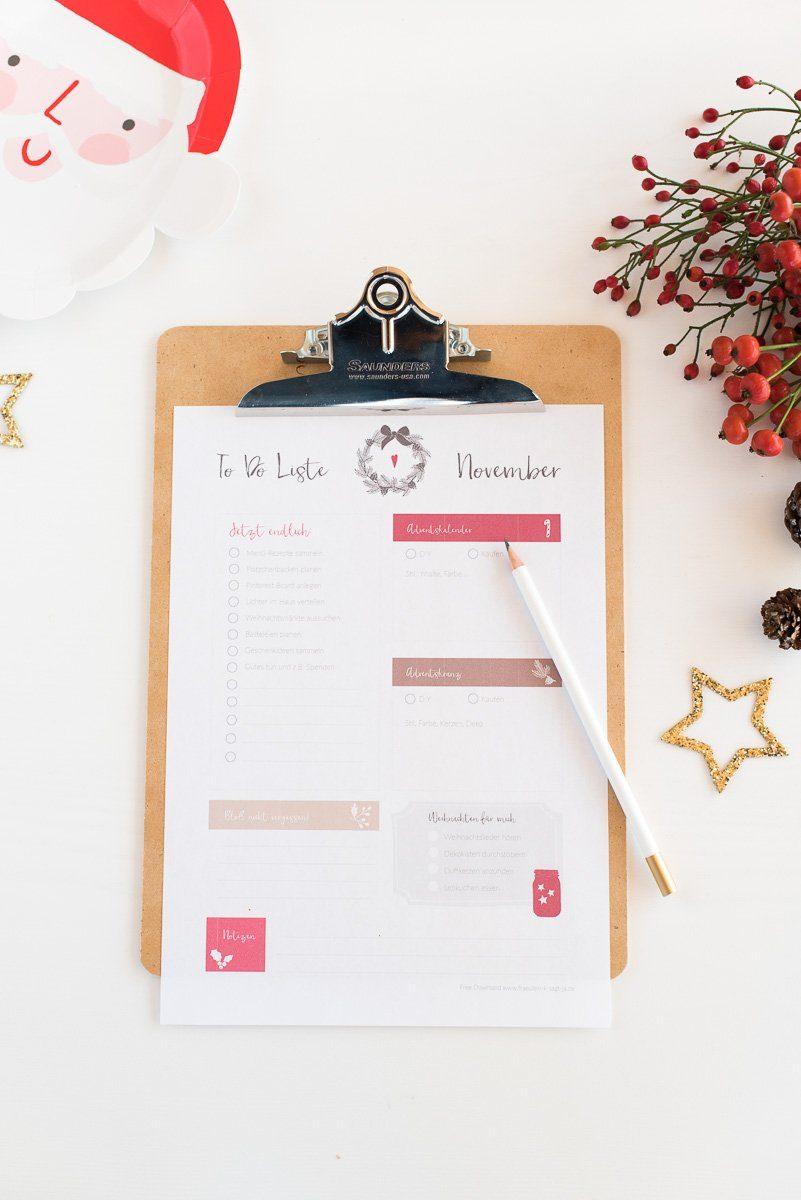 To Do Liste für Weihnachten zum gratis Download und Ausdrucken