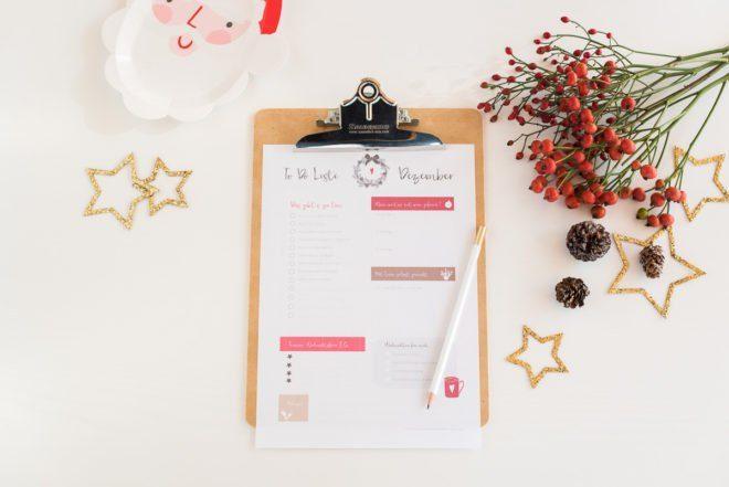 Checkliste Weihnachten im Dezember zum Downlaod
