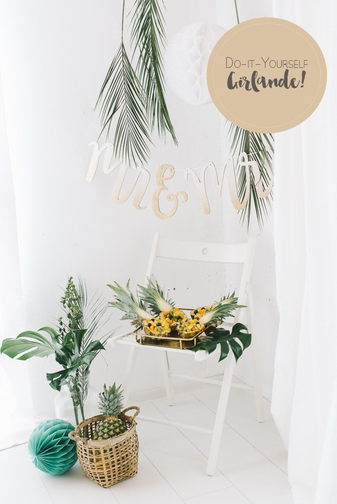 DIY Mrs & Ms Garland golden ombre style