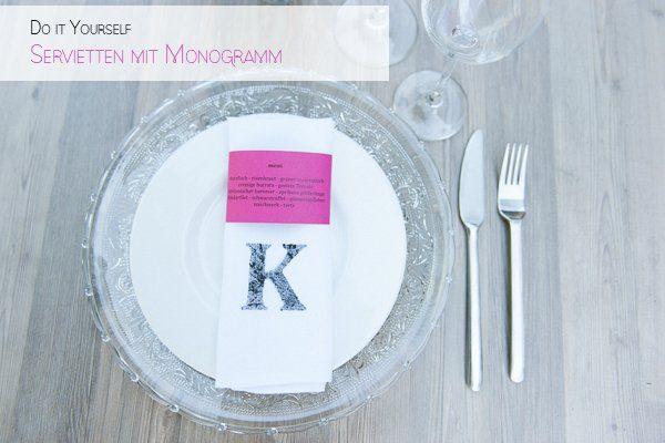 DIY Servietten mit Monogramm