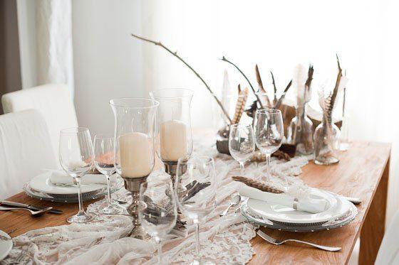 Tischdeko Made By Frl K Nr 1 Edel Mit Federn Holz Und Silber