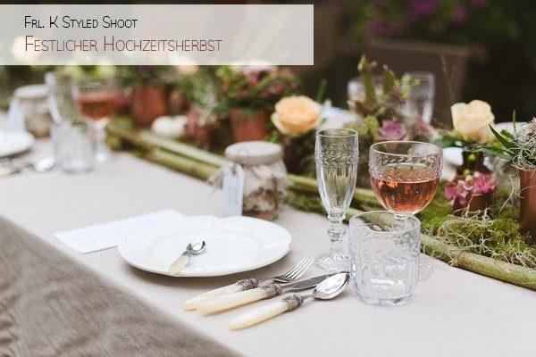 Dekokonzept für eine Hochzeit Festlicher Herbst
