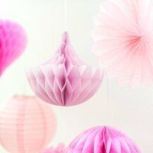 Dekoset Pompom, Lampion & Wabenball rosa-5