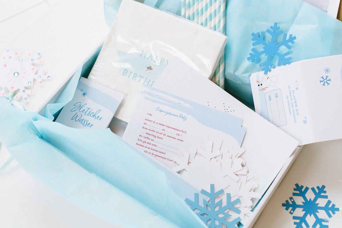 Eisprinzessin Geburtstagsbox für eure Kinderparty ohne großen Aufwand - liebevolle Dekoration für euren Kindergeburtstag