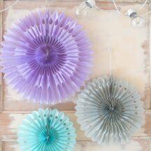 Faltrosetten Blumen Dekoration  lila Flieder