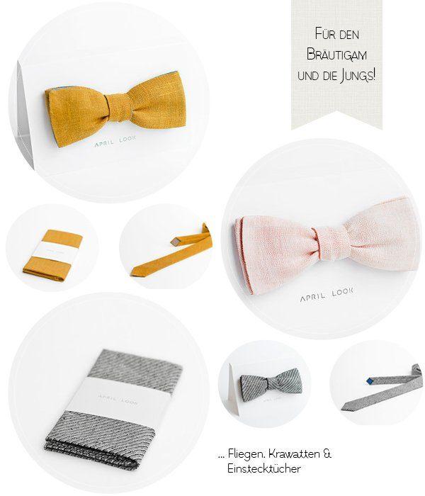 Fliege Krawatte und Einstecktücher für den Bräutigam