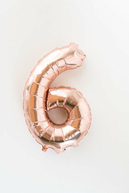 Süße Idee für den Geburtstag: Folienballon als Zahl in Roségold