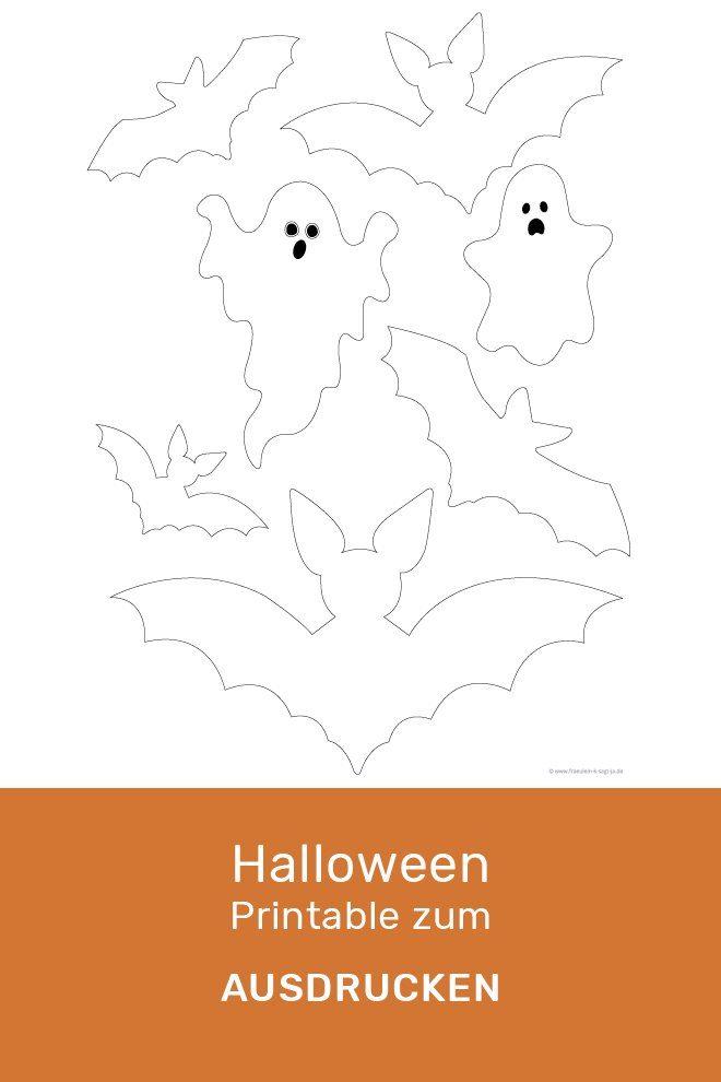 Geister und Fledermaus Vorlage zum Ausdrucken
