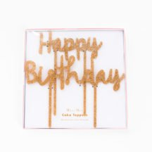Happy Birthday Cake Topper Gold Glitter-1