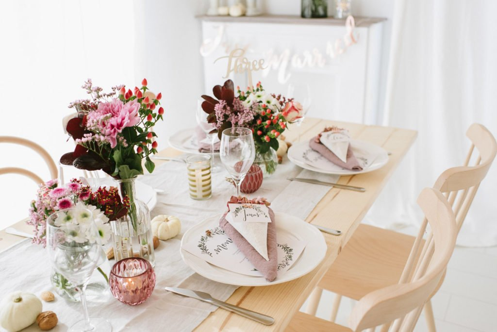 Hochzeitsdekoration im Herbst