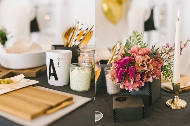 Moderne Tischdekoration im Herbst