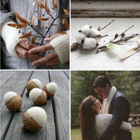 Hochzeit Wolle Filz weiss