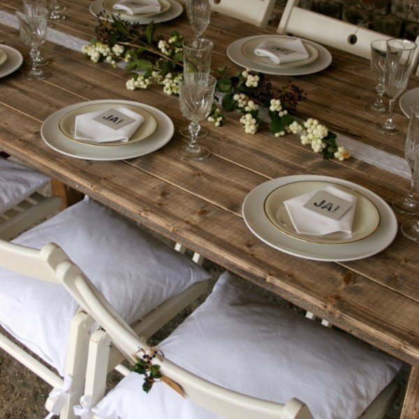Klapptisch leihen für lange Hochzeitstafel