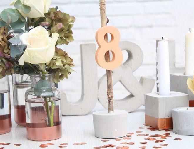 Hochzeitsdekoration in Kupfer und Beton zum Ausleihen - Hochzeitsblog Frl. K sagt Ja .de