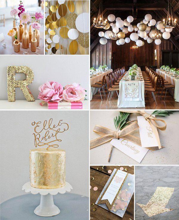 Ideaboard Gold und Glitzer Hochzeit