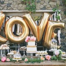LOVE Ballon Set gold 80cm