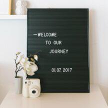 schwarzes Letterboard mit weißen Steckbuchstaben