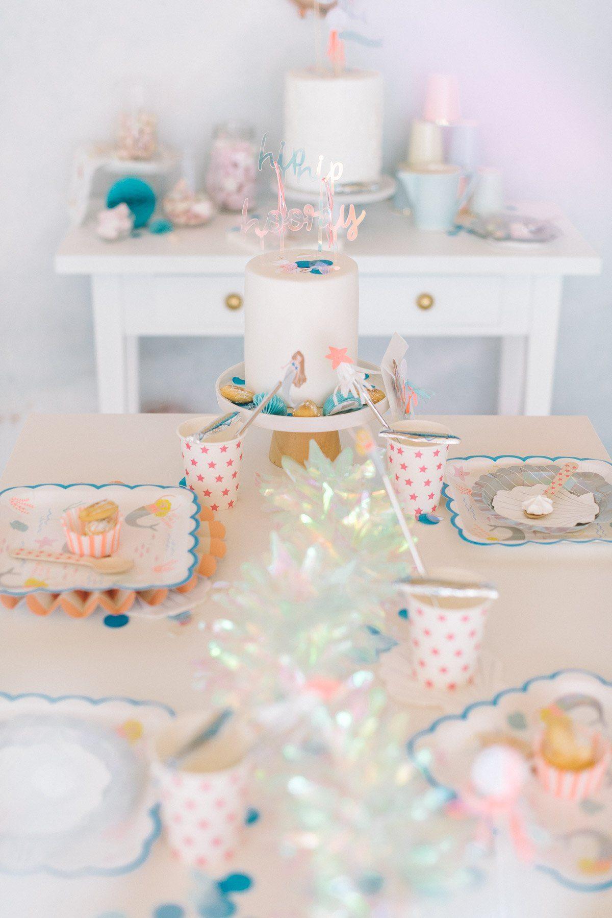 Tischdekoration Kindergeburtstag Meerjungfrau Party