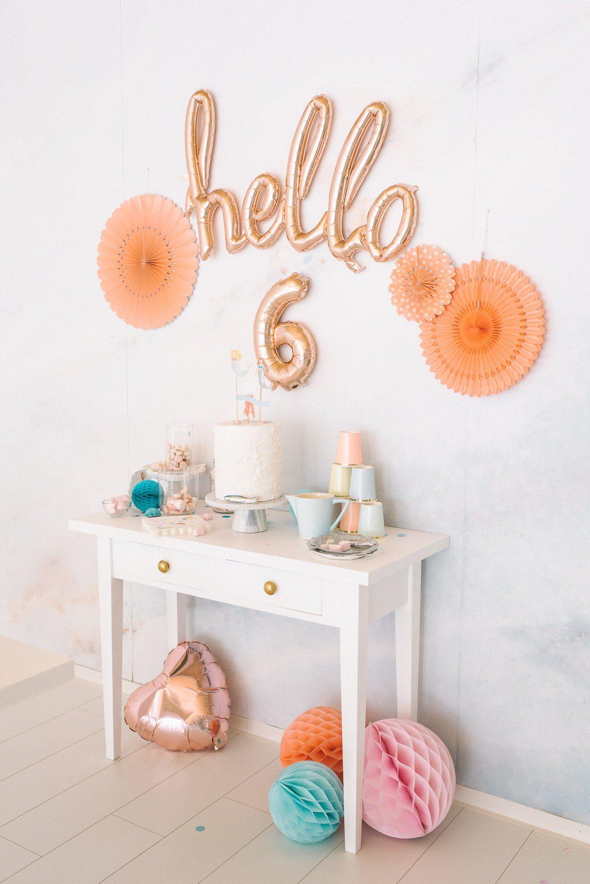 hello script ballon rosegold