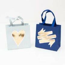 Mini Geschenktüten blau und grau mit Goldfoliendruck