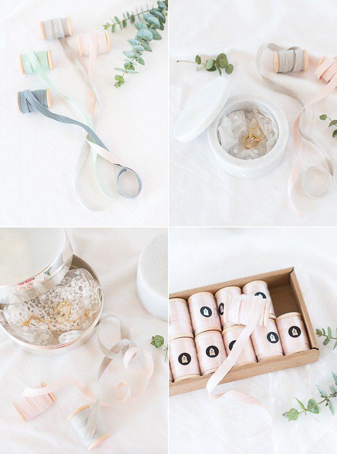 Wunderschöne Ringschalen in silber oder aus Marmor kombiniert mit zarten Pastellbändern