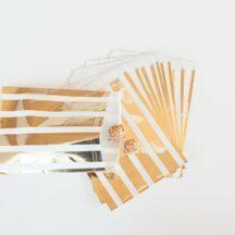 Papiertüten und Popcorn Schachteln in Gold und Silber-13