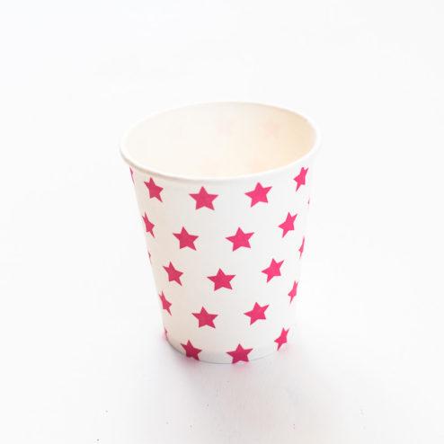 Pappbecher Sterne pink-1