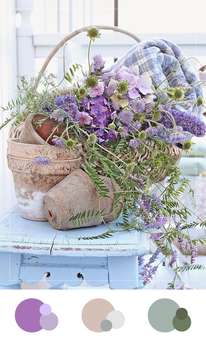 Farbkonzept für eine Sommerhochzeit: lila, beige, grün
