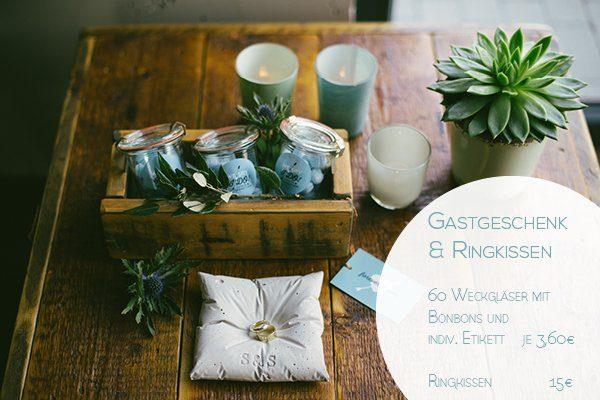 Preis Ringkissen und Gastgeschenk Weckglas Hochzeit