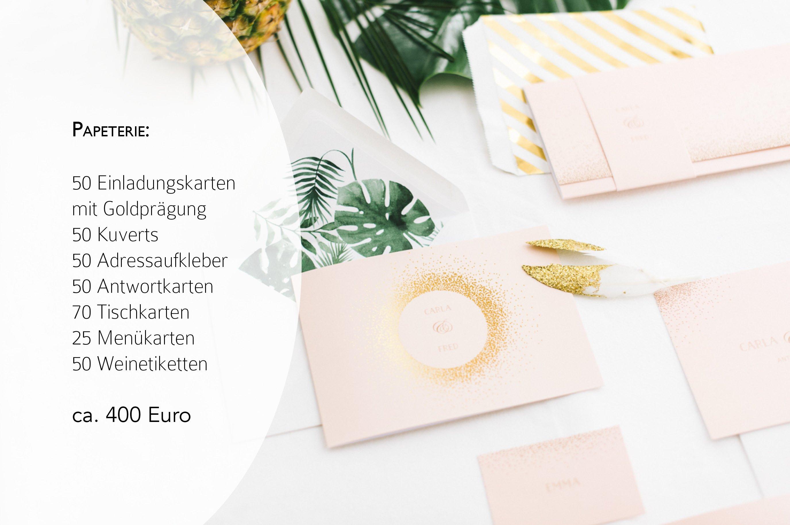 Preise für Brautkleid, Hochzeitstorte und Papeterie3