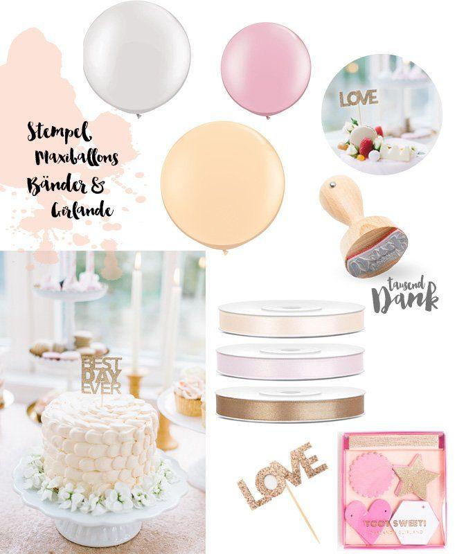 Produkte Peach Blush Glitter mit Satinbaendern, Stempel, grossen Ballons und Caketoppern in gold