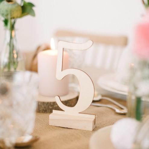 Tischnummern Vintage Hochzeit aus Holz