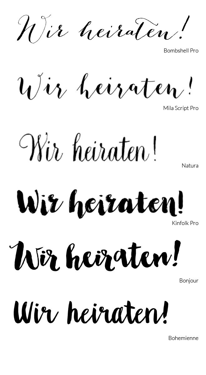 Schöne Kalligrafie & Script Schriftarten für Eure Hochzeitseinladung