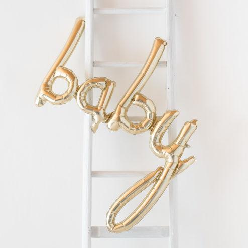 Goldener Baby Schriftzug Ballon
