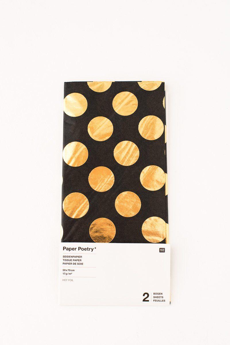 seidenpapier schwarz mit goldenen punkten fr ulein k sagt ja partyshop. Black Bedroom Furniture Sets. Home Design Ideas