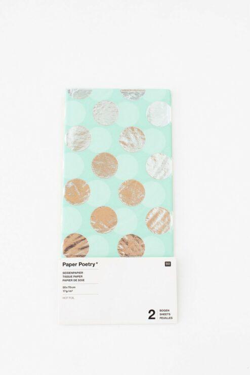 Mistes Seidenpapier mit silbernen Punkten