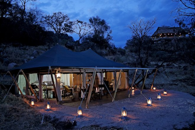 Serengeti Pioneer Camp_tent exterior at night 2
