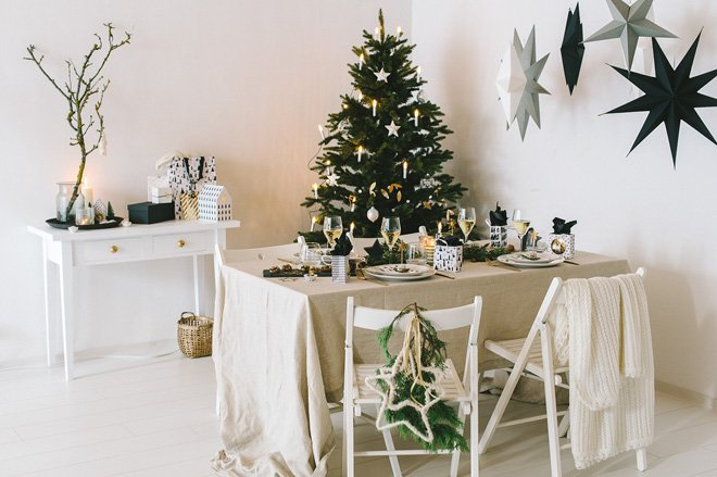 Inspiration Skandinavische Weihnachtstischdekoration