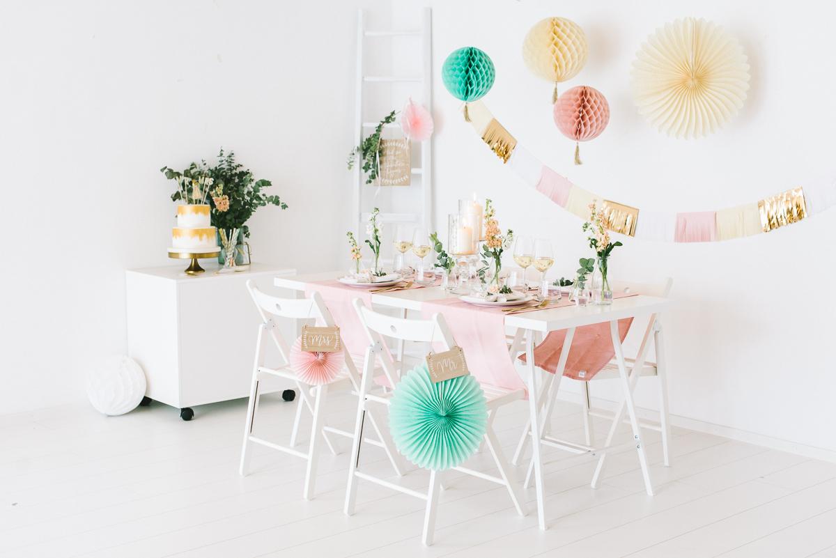 Tischdeko in Pastell Rosé Mint Vanille - Frl. K sagt Ja-7