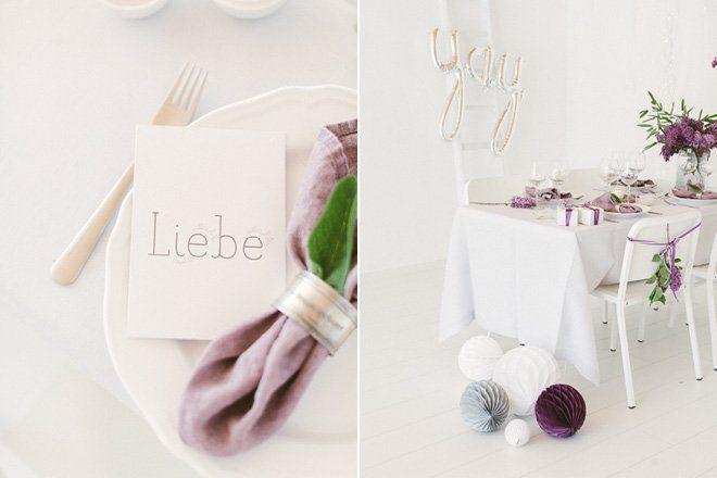 Tischdekoration mit Flieder in lila für die Hochzeit im Frühling9