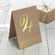 Tischnummernset Kraftpapier mit Goldfolienpraegung