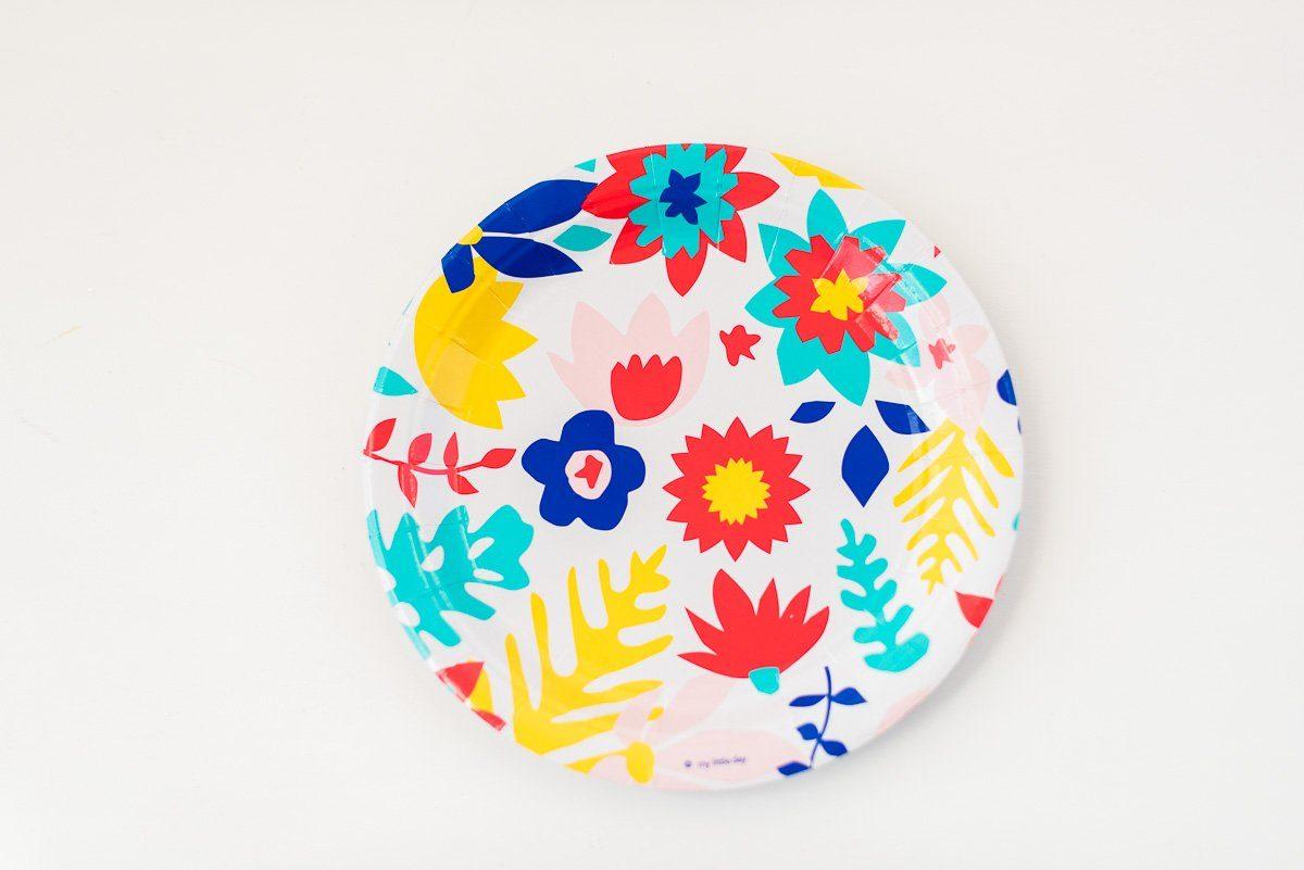 Pappteller tropical flowers fr ulein k sagt ja partyshop for Kindergeburtstag pappteller