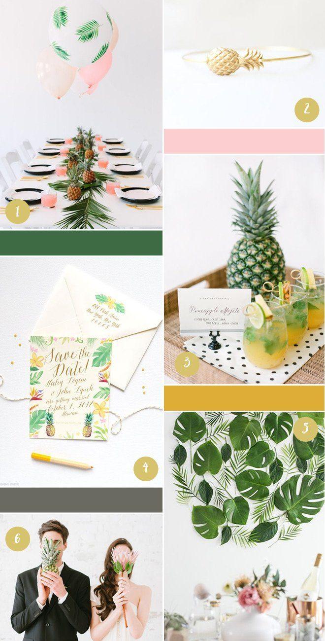 Tropical wedding Ideas - Eine Hochzeit im tropisch suessen Stil mit Ananas und großem Blattwerk